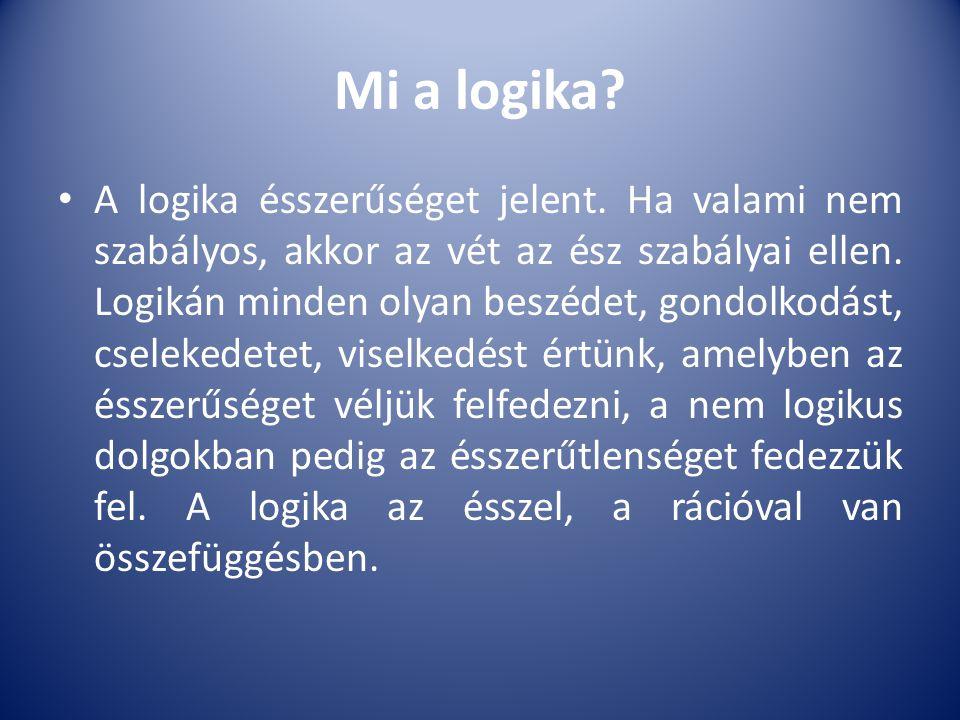 Mi a logika? A logika ésszerűséget jelent. Ha valami nem szabályos, akkor az vét az ész szabályai ellen. Logikán minden olyan beszédet, gondolkodást,