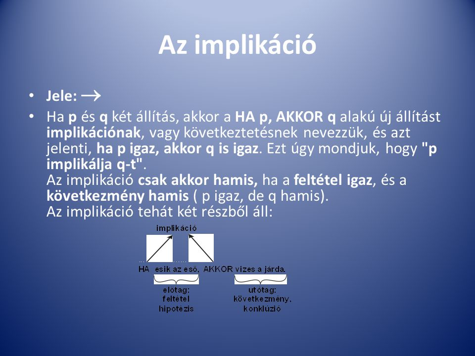 Az implikáció Jele:  Ha p és q két állítás, akkor a HA p, AKKOR q alakú új állítást implikációnak, vagy következtetésnek nevezzük, és azt jelenti, ha