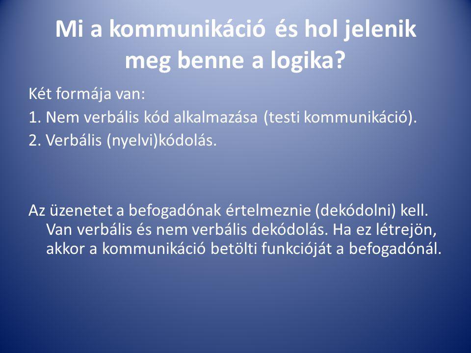 Mi a kommunikáció és hol jelenik meg benne a logika? Két formája van: 1. Nem verbális kód alkalmazása (testi kommunikáció). 2. Verbális (nyelvi)kódolá