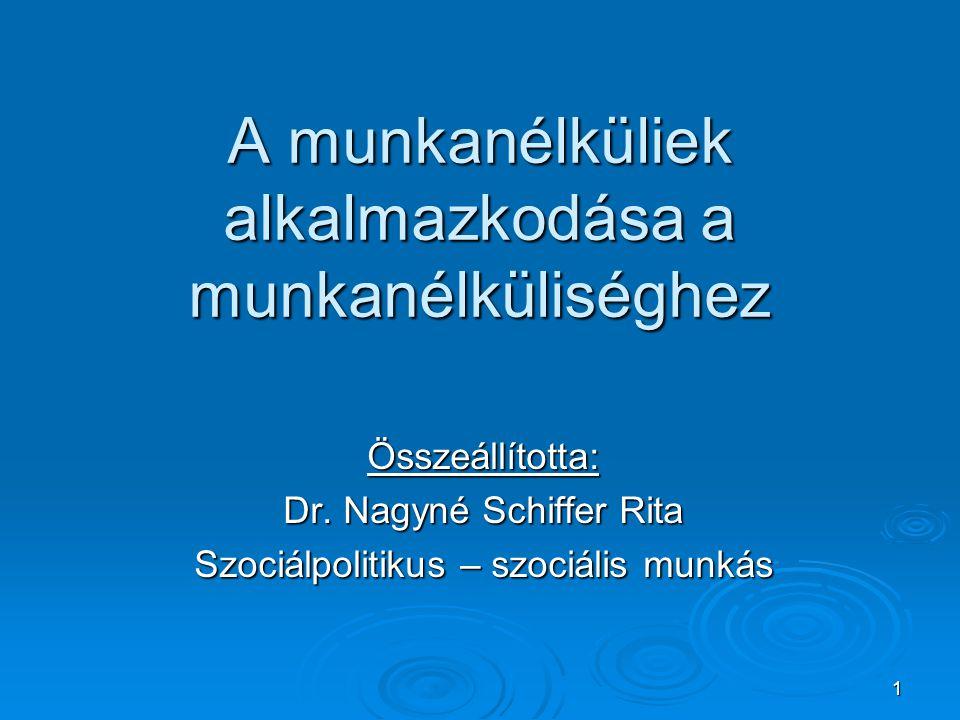 1 A munkanélküliek alkalmazkodása a munkanélküliséghez Összeállította: Dr. Nagyné Schiffer Rita Szociálpolitikus – szociális munkás