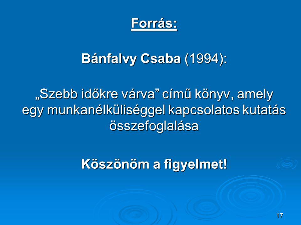 """17 Forrás: Bánfalvy Csaba (1994): Bánfalvy Csaba (1994): """"Szebb időkre várva"""" című könyv, amely egy munkanélküliséggel kapcsolatos kutatás összefoglal"""