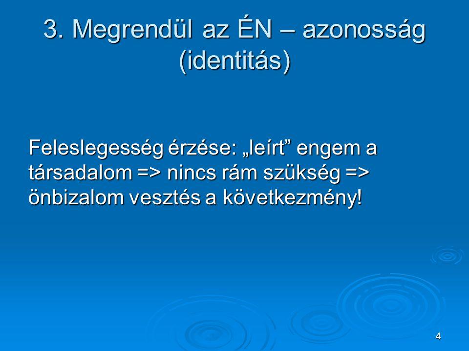 """4 3. Megrendül az ÉN – azonosság (identitás) Feleslegesség érzése: """"leírt"""" engem a társadalom => nincs rám szükség => önbizalom vesztés a következmény"""