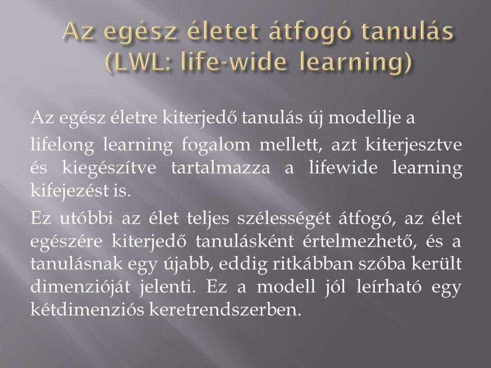 Az egész életre kiterjedő tanulás új modellje a lifelong learning fogalom mellett, azt kiterjesztve és kiegészítve tartalmazza a lifewide learning kifejezést is.