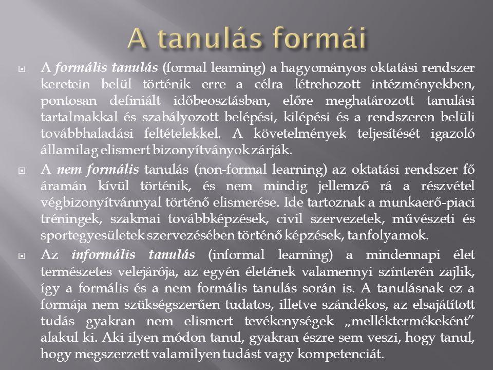  A formális tanulás (formal learning) a hagyományos oktatási rendszer keretein belül történik erre a célra létrehozott intézményekben, pontosan definiált időbeosztásban, előre meghatározott tanulási tartalmakkal és szabályozott belépési, kilépési és a rendszeren belüli továbbhaladási feltételekkel.