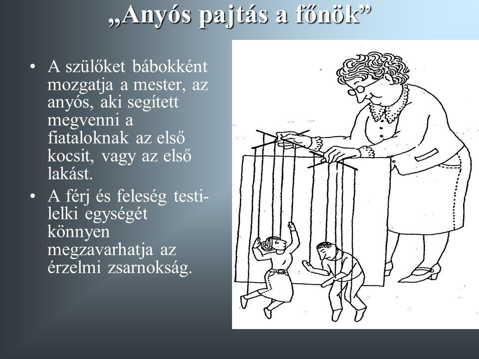 """""""Anyós pajtás a főnök"""" A szülőket bábokként mozgatja a mester, az anyós, aki segített megvenni a fiataloknak az első kocsit, vagy az első lakást. A fé"""