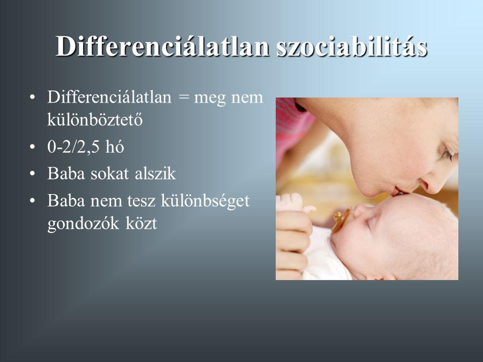 Differenciálatlan szociabilitás Differenciálatlan = meg nem különböztető 0-2/2,5 hó Baba sokat alszik Baba nem tesz különbséget gondozók közt