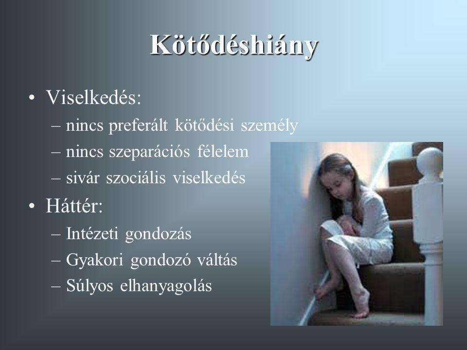 Kötődéshiány Viselkedés: –nincs preferált kötődési személy –nincs szeparációs félelem –sivár szociális viselkedés Háttér: –Intézeti gondozás –Gyakori