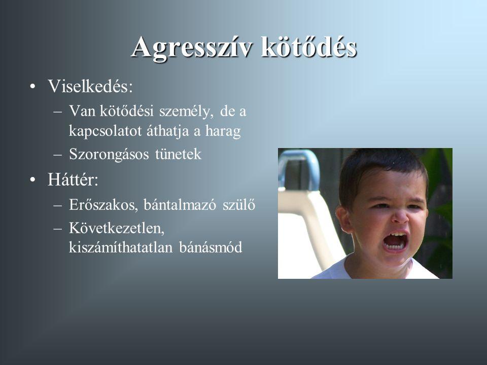 Agresszív kötődés Viselkedés: –Van kötődési személy, de a kapcsolatot áthatja a harag –Szorongásos tünetek Háttér: –Erőszakos, bántalmazó szülő –Követ