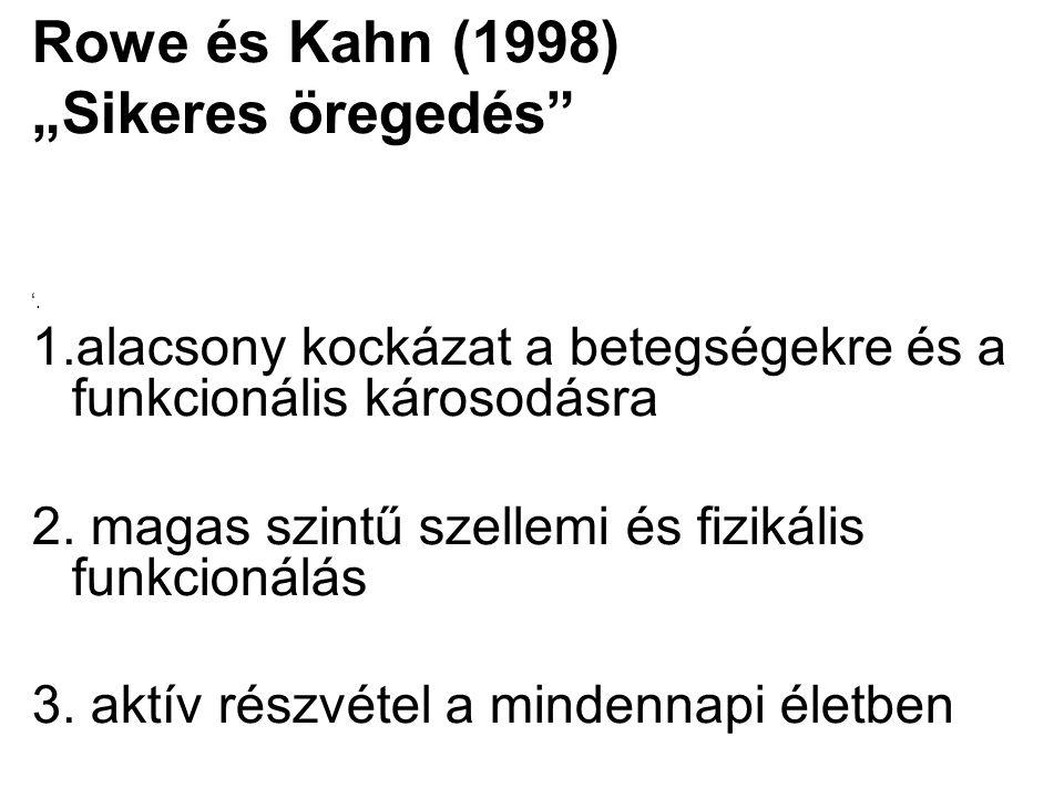 """Rowe és Kahn (1998) """"Sikeres öregedés"""" '. 1.alacsony kockázat a betegségekre és a funkcionális károsodásra 2. magas szintű szellemi és fizikális funkc"""