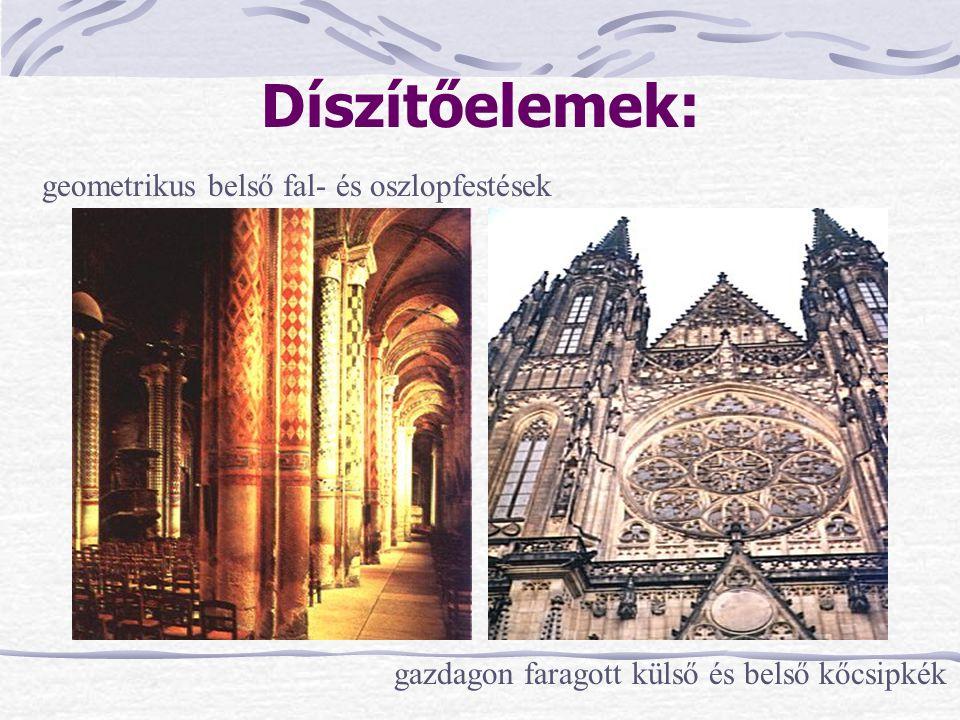 Díszítőelemek: geometrikus belső fal- és oszlopfestések gazdagon faragott külső és belső kőcsipkék