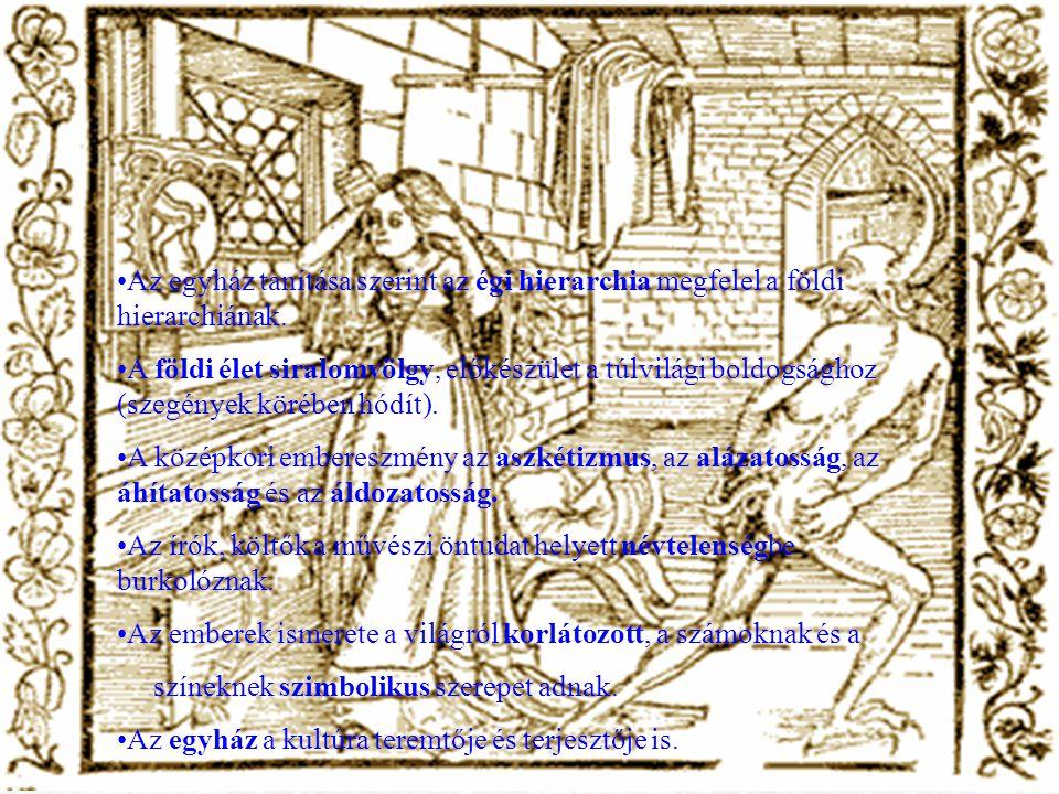 Az egyház tanítása szerint az égi hierarchia megfelel a földi hierarchiának. A földi élet siralomvölgy, előkészület a túlvilági boldogsághoz (szegénye