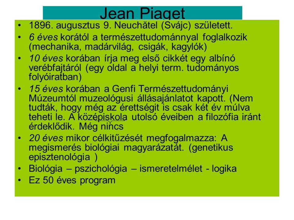 Jean Piaget 1896. augusztus 9. Neuchătel (Svájc) született. 6 éves korától a természettudománnyal foglalkozik (mechanika, madárvilág, csigák, kagylók)