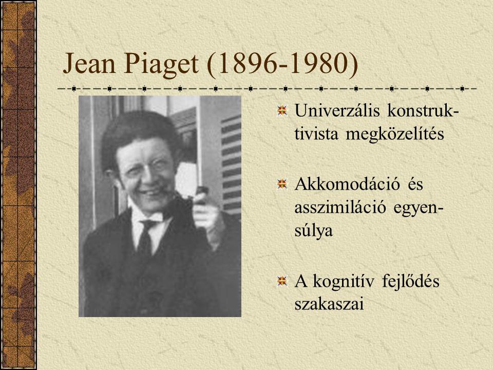 Jean Piaget (1896-1980) Univerzális konstruk- tivista megközelítés Akkomodáció és asszimiláció egyen- súlya A kognitív fejlődés szakaszai