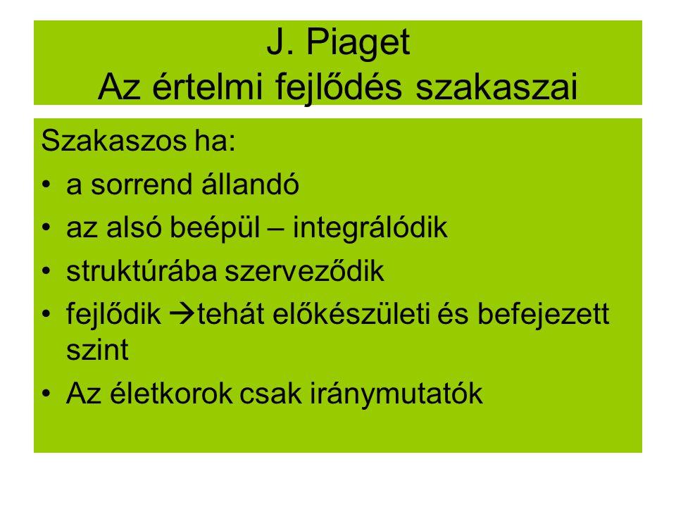 J. Piaget Az értelmi fejlődés szakaszai Szakaszos ha: a sorrend állandó az alsó beépül – integrálódik struktúrába szerveződik fejlődik  tehát előkész