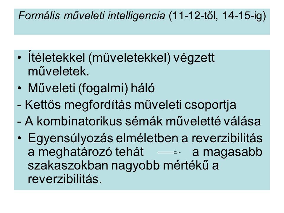 Formális műveleti intelligencia (11-12-től, 14-15-ig) Ítéletekkel (műveletekkel) végzett műveletek. Műveleti (fogalmi) háló - Kettős megfordítás művel