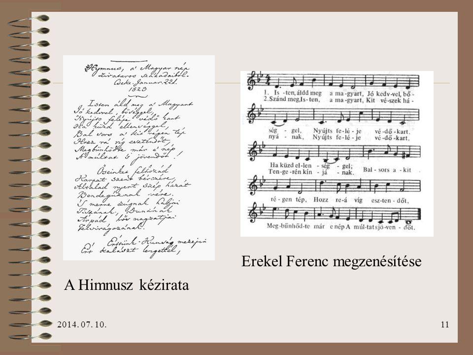 2014. 07. 10.11 A Himnusz kézirata Erekel Ferenc megzenésítése