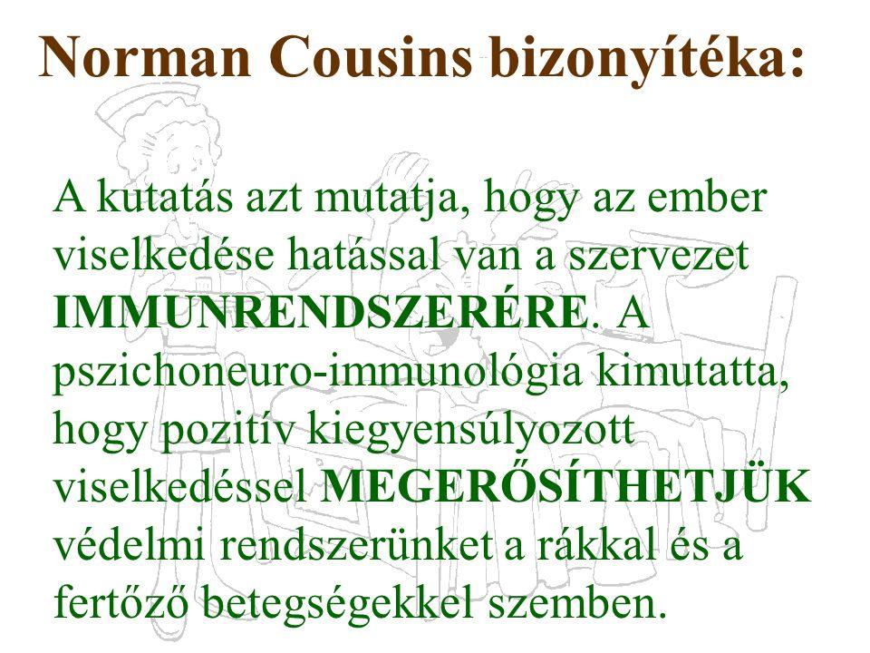 Norman Cousins bizonyítéka: A kutatás azt mutatja, hogy az ember viselkedése hatással van a szervezet IMMUNRENDSZERÉRE. A pszichoneuro-immunológia kim