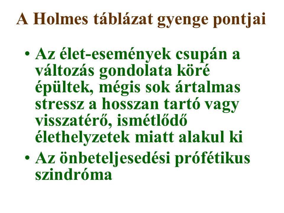 A Holmes táblázat gyenge pontjai Az élet-események csupán a változás gondolata köré épültek, mégis sok ártalmas stressz a hosszan tartó vagy visszatér