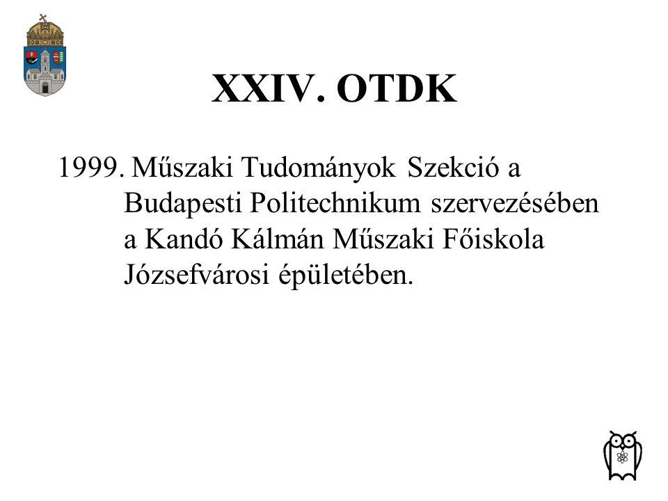 XXIV. OTDK 1999. Műszaki Tudományok Szekció a Budapesti Politechnikum szervezésében a Kandó Kálmán Műszaki Főiskola Józsefvárosi épületében.