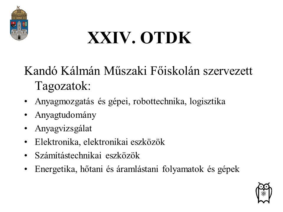 XXIV. OTDK Kandó Kálmán Műszaki Főiskolán szervezett Tagozatok: Anyagmozgatás és gépei, robottechnika, logisztika Anyagtudomány Anyagvizsgálat Elektro