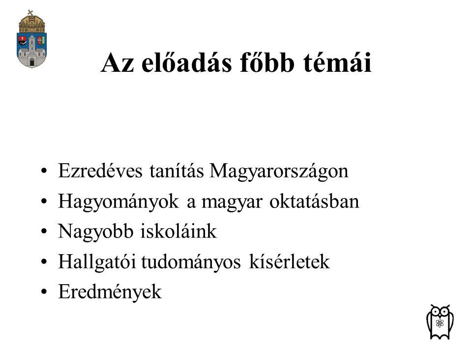 Az előadás főbb témái Ezredéves tanítás Magyarországon Hagyományok a magyar oktatásban Nagyobb iskoláink Hallgatói tudományos kísérletek Eredmények