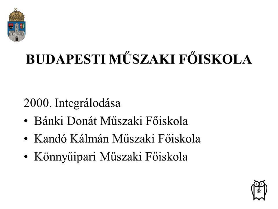 BUDAPESTI MŰSZAKI FŐISKOLA 2000. Integrálodása Bánki Donát Műszaki Főiskola Kandó Kálmán Műszaki Főiskola Könnyűipari Műszaki Főiskola