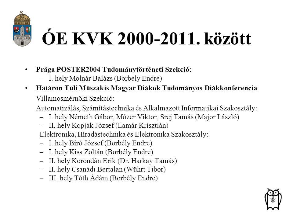 ÓE KVK 2000-2011. között Prága POSTER2004 Tudománytörténeti Szekció: –I. hely Molnár Balázs (Borbély Endre) Határon Túli Műszakis Magyar Diákok Tudomá