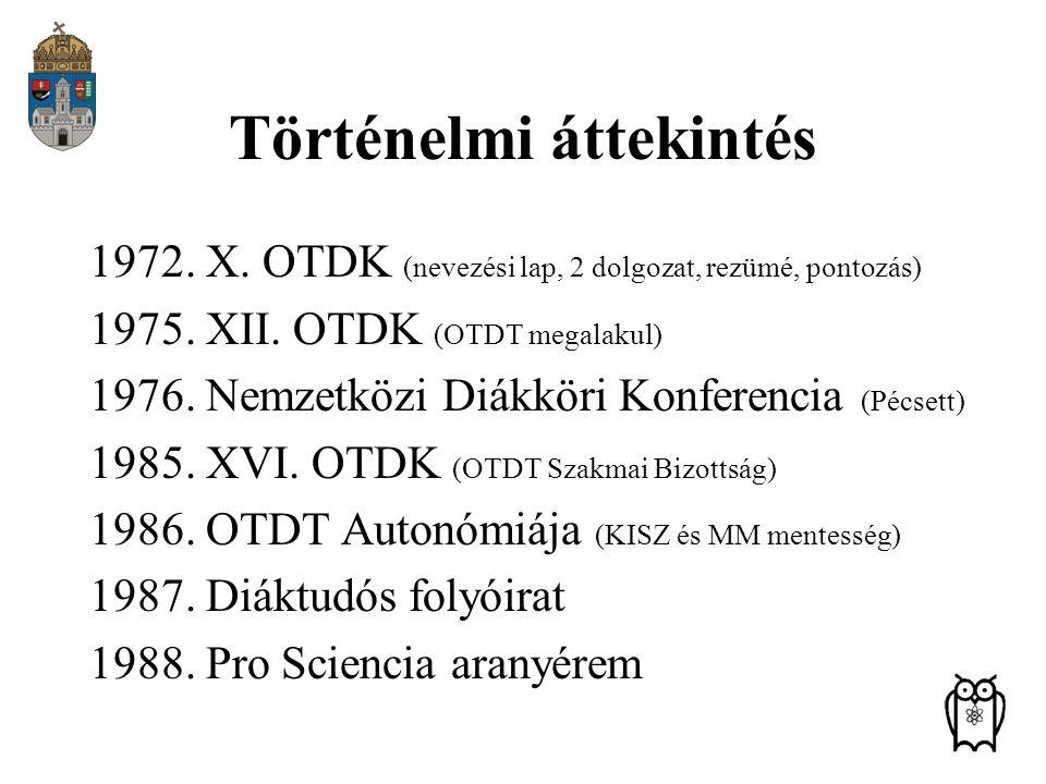 Történelmi áttekintés 1972. X. OTDK (nevezési lap, 2 dolgozat, rezümé, pontozás) 1975. XII. OTDK (OTDT megalakul) 1976. Nemzetközi Diákköri Konferenci