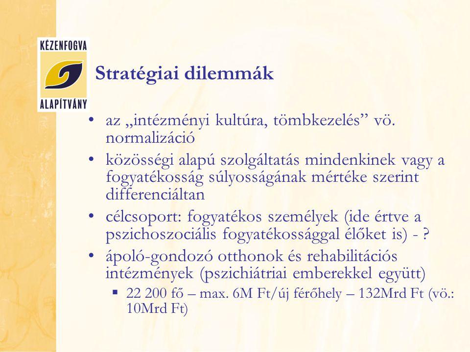"""Stratégiai dilemmák az """"intézményi kultúra, tömbkezelés"""" vö. normalizáció közösségi alapú szolgáltatás mindenkinek vagy a fogyatékosság súlyosságának"""