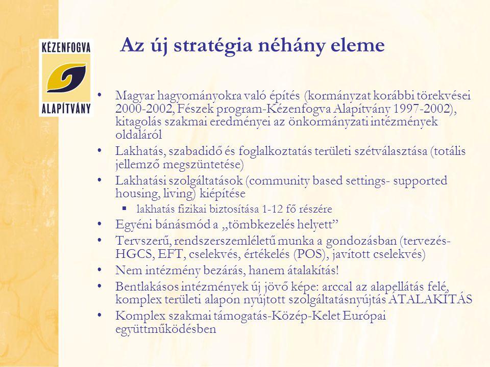 """Az új stratégia néhány eleme Magyar hagyományokra való építés (kormányzat korábbi törekvései 2000-2002, Fészek program-Kézenfogva Alapítvány 1997-2002), kitagolás szakmai eredményei az önkormányzati intézmények oldaláról Lakhatás, szabadidő és foglalkoztatás területi szétválasztása (totális jellemző megszüntetése) Lakhatási szolgáltatások (community based settings- supported housing, living) kiépítése  lakhatás fizikai biztosítása 1-12 fő részére Egyéni bánásmód a """"tömbkezelés helyett Tervszerű, rendszerszemléletű munka a gondozásban (tervezés- HGCS, EFT, cselekvés, értékelés (POS), javított cselekvés) Nem intézmény bezárás, hanem átalakítás."""