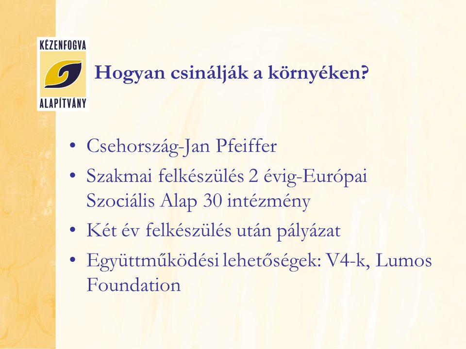 Hogyan csinálják a környéken? Csehország-Jan Pfeiffer Szakmai felkészülés 2 évig-Európai Szociális Alap 30 intézmény Két év felkészülés után pályázat