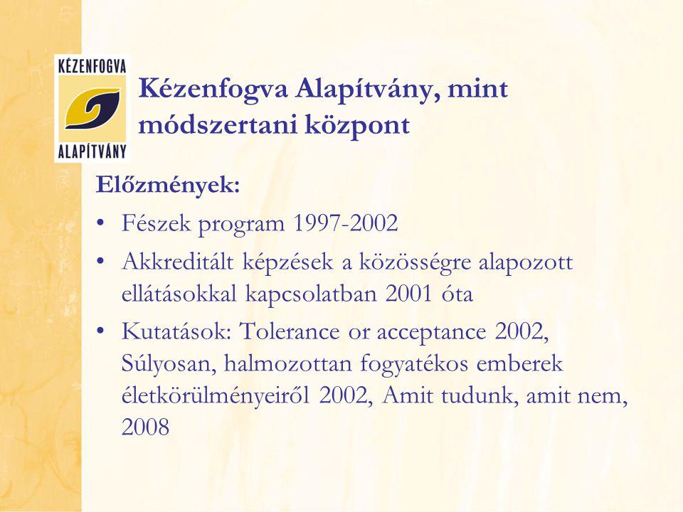 Kézenfogva Alapítvány, mint módszertani központ Előzmények: Fészek program 1997-2002 Akkreditált képzések a közösségre alapozott ellátásokkal kapcsola