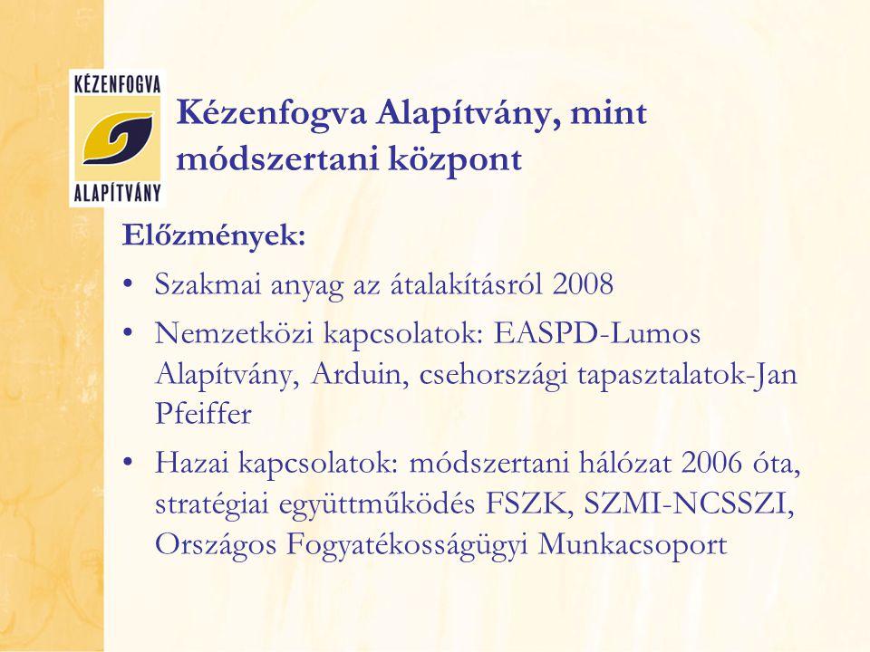 Kézenfogva Alapítvány, mint módszertani központ Előzmények: Szakmai anyag az átalakításról 2008 Nemzetközi kapcsolatok: EASPD-Lumos Alapítvány, Arduin