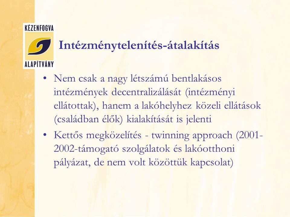 Intézménytelenítés-átalakítás Nem csak a nagy létszámú bentlakásos intézmények decentralizálását (intézményi ellátottak), hanem a lakóhelyhez közeli ellátások (családban élők) kialakítását is jelenti Kettős megközelítés - twinning approach (2001- 2002-támogató szolgálatok és lakóotthoni pályázat, de nem volt közöttük kapcsolat)