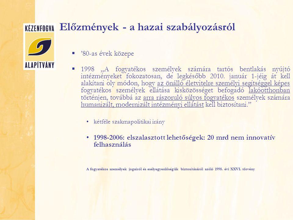 """VÁLTOZÁS - Európai Unió a Bizottság közleménye COM(2007)738: A fogyatékos személyek helyzete a kibővült Európai Unióban: az Európai akcióterv 2008-2009 """"A közösségi alapú szolgáltatások jobb lehetőséget nyújtanak a független életvitelre, mint az intézményi ellátás. közösségi alapú szolgáltatások és a kitagolás kutatása  Included in Society (korábbi anyag)  Kitagolás és közösség élet: kimenetek és költségek  www.disability-europe.net www.disability-europe.net"""