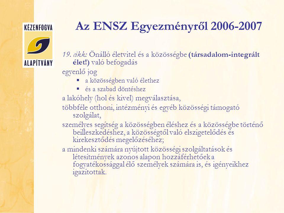 Az ENSZ Egyezményről 2006-2007 19. cikk: Önálló életvitel és a közösségbe (társadalom-integrált élet!) való befogadás egyenlő jog  a közösségben való