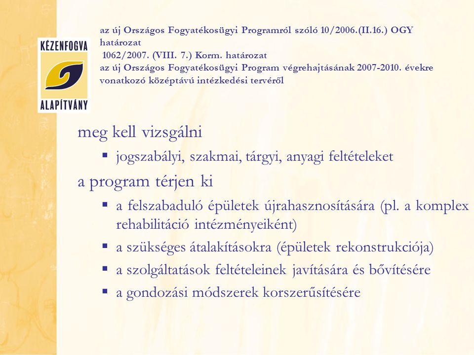 az új Országos Fogyatékosügyi Programról szóló 10/2006.(II.16.) OGY határozat 1062/2007. (VIII. 7.) Korm. határozat az új Országos Fogyatékosügyi Prog