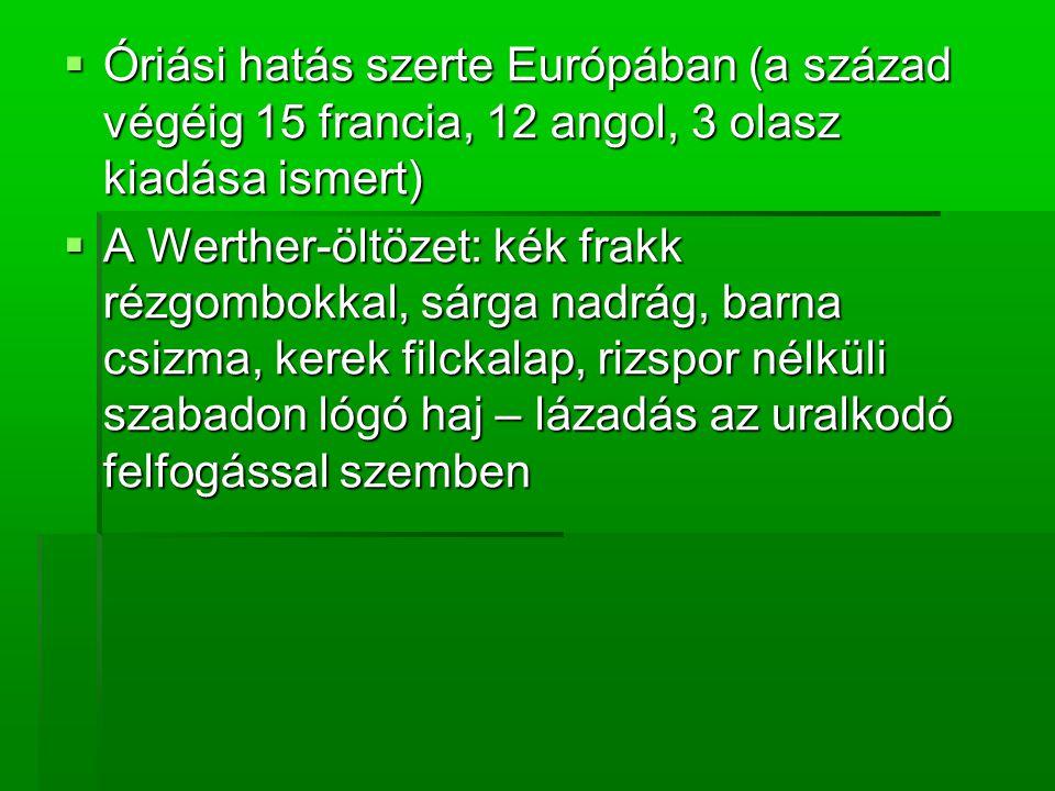  Óriási hatás szerte Európában (a század végéig 15 francia, 12 angol, 3 olasz kiadása ismert)  A Werther-öltözet: kék frakk rézgombokkal, sárga nadrág, barna csizma, kerek filckalap, rizspor nélküli szabadon lógó haj – lázadás az uralkodó felfogással szemben