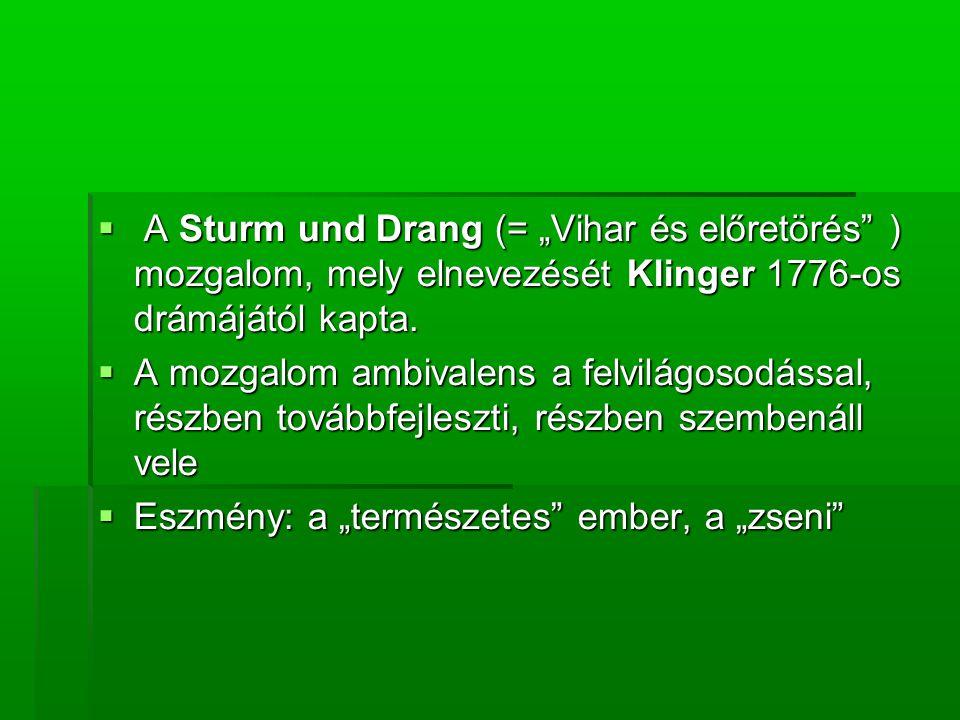 """ A Sturm und Drang (= """"Vihar és előretörés ) mozgalom, mely elnevezését Klinger 1776-os drámájától kapta."""