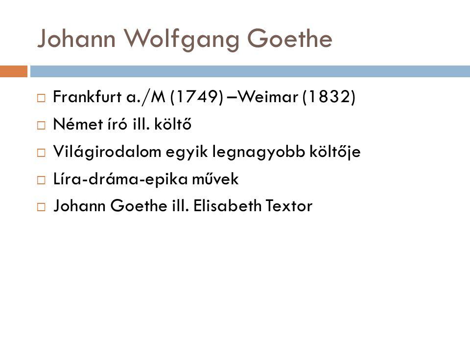 Johann Wolfgang Goethe  Frankfurt a./M (1749) –Weimar (1832)  Német író ill. költő  Világirodalom egyik legnagyobb költője  Líra-dráma-epika művek