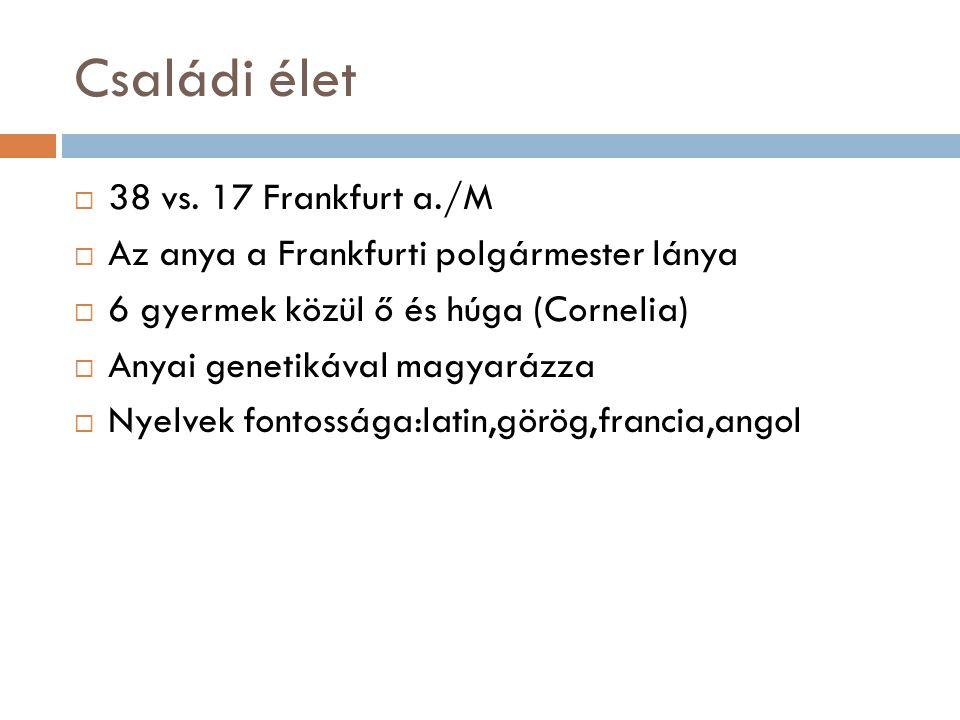 Családi élet  38 vs. 17 Frankfurt a./M  Az anya a Frankfurti polgármester lánya  6 gyermek közül ő és húga (Cornelia)  Anyai genetikával magyarázz