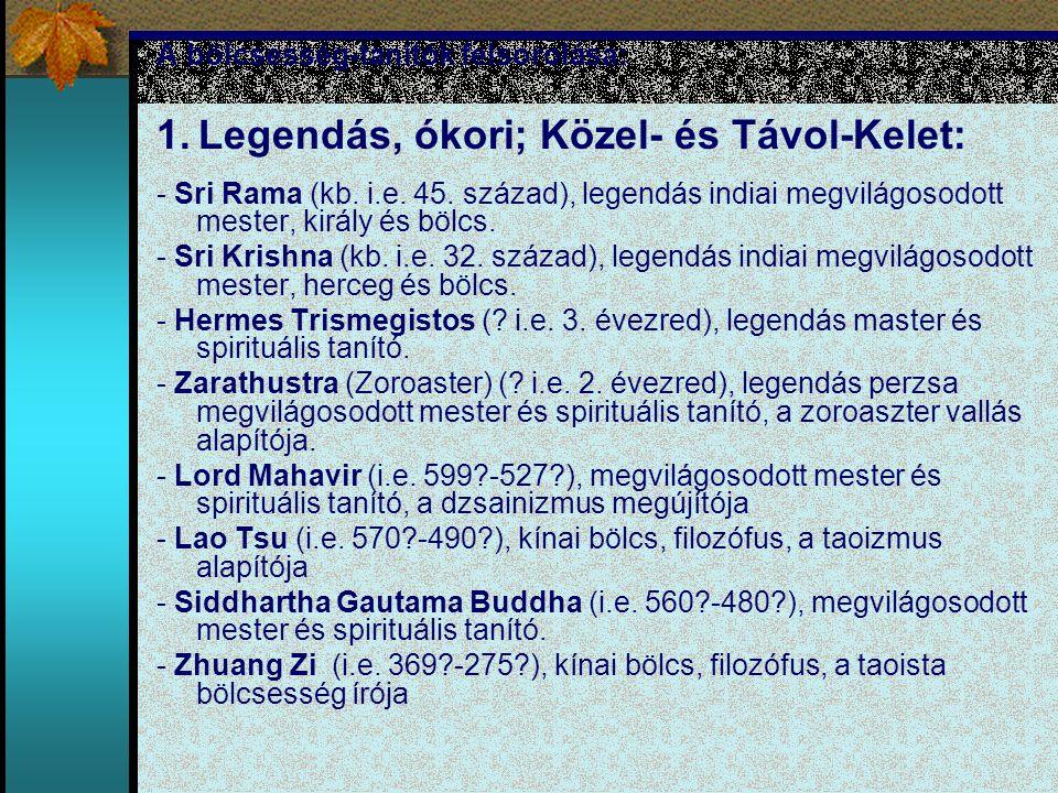 A bölcsesség-tanítók felsorolása: 1. Legendás, ókori; Közel- és Távol-Kelet: - Sri Rama (kb. i.e. 45. század), legendás indiai megvilágosodott mester,