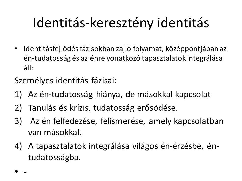 Identitás-keresztény identitás Identitásfejlődés fázisokban zajló folyamat, középpontjában az én-tudatosság és az énre vonatkozó tapasztalatok integrá