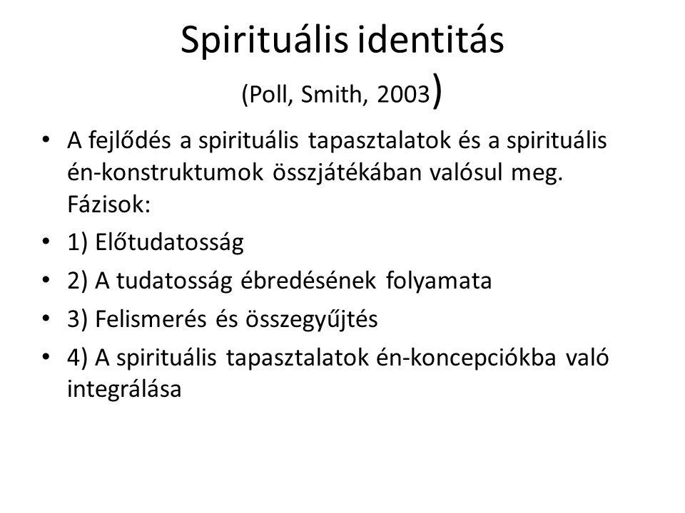 Spirituális identitás (Poll, Smith, 2003 ) A fejlődés a spirituális tapasztalatok és a spirituális én-konstruktumok összjátékában valósul meg. Fázisok