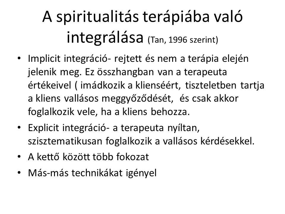 A spiritualitás terápiába való integrálása (Tan, 1996 szerint) Implicit integráció- rejtett és nem a terápia elején jelenik meg. Ez összhangban van a