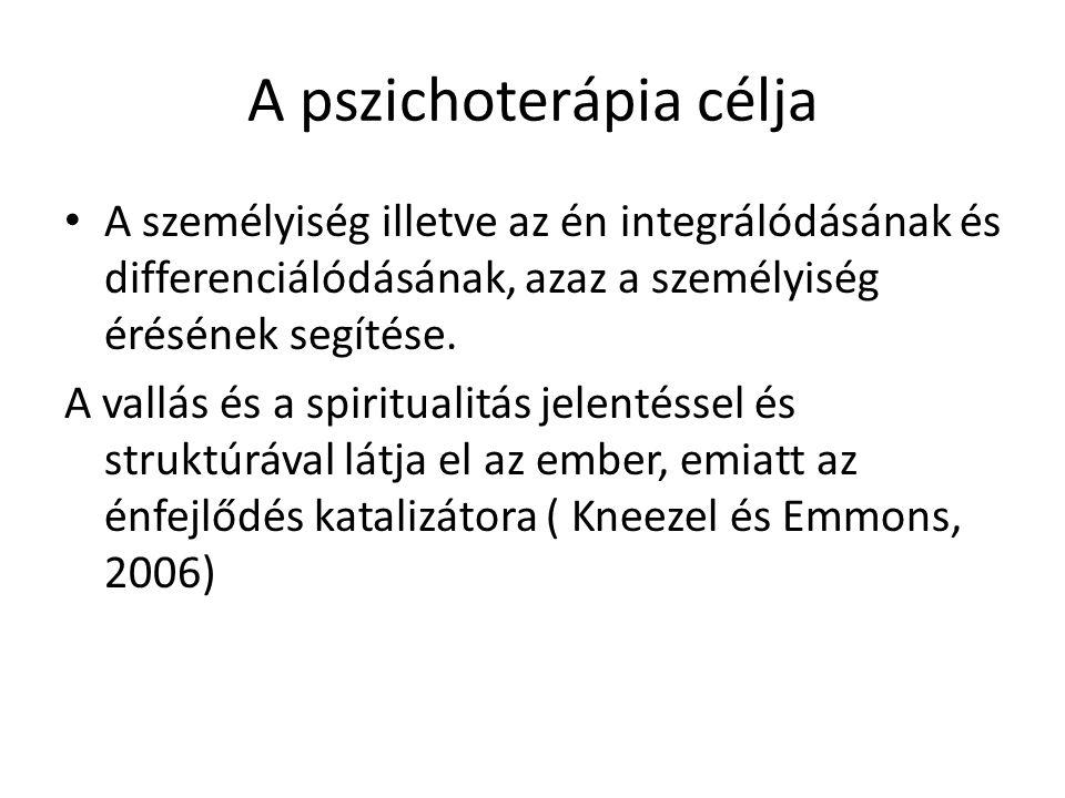 A pszichoterápia célja A személyiség illetve az én integrálódásának és differenciálódásának, azaz a személyiség érésének segítése. A vallás és a spiri