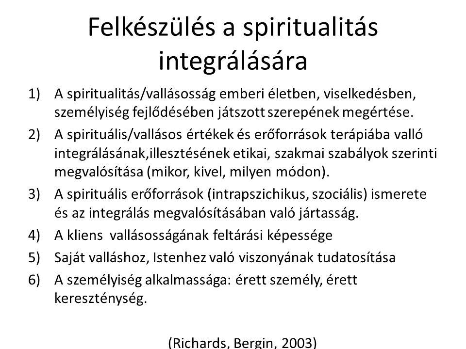 Felkészülés a spiritualitás integrálására 1)A spiritualitás/vallásosság emberi életben, viselkedésben, személyiség fejlődésében játszott szerepének me