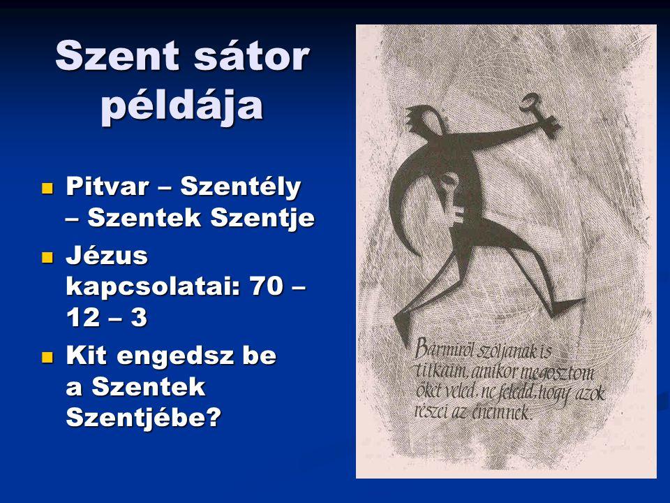 Szent sátor példája Pitvar – Szentély – Szentek Szentje Pitvar – Szentély – Szentek Szentje Jézus kapcsolatai: 70 – 12 – 3 Jézus kapcsolatai: 70 – 12