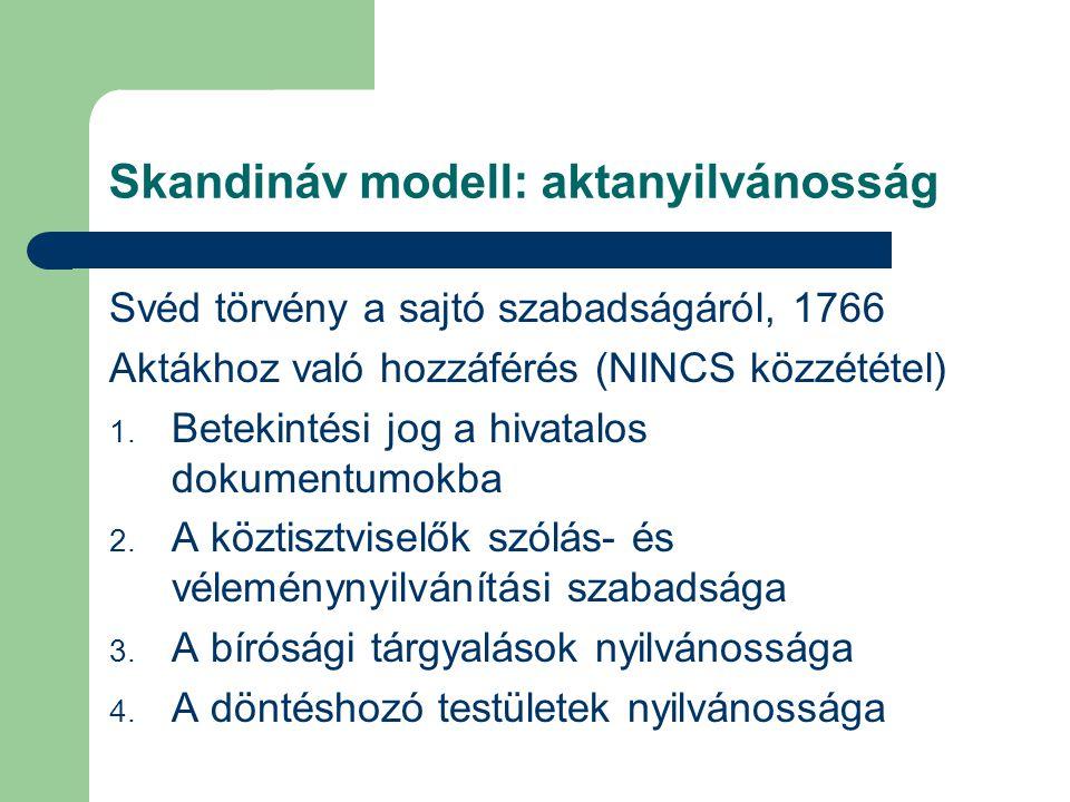 Skandináv modell: aktanyilvánosság Svéd törvény a sajtó szabadságáról, 1766 Aktákhoz való hozzáférés (NINCS közzététel) 1. Betekintési jog a hivatalos