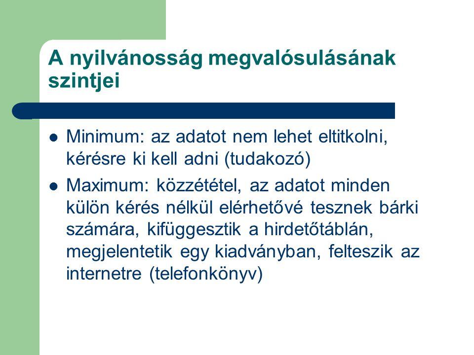 A nyilvánosság megvalósulásának szintjei Minimum: az adatot nem lehet eltitkolni, kérésre ki kell adni (tudakozó) Maximum: közzététel, az adatot minde